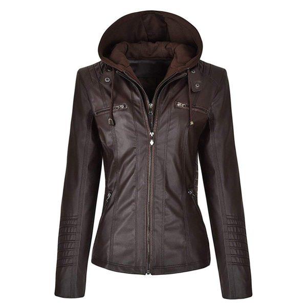 Detachable Zipper Slimfit Genuine Leather Hoodie Jacket look