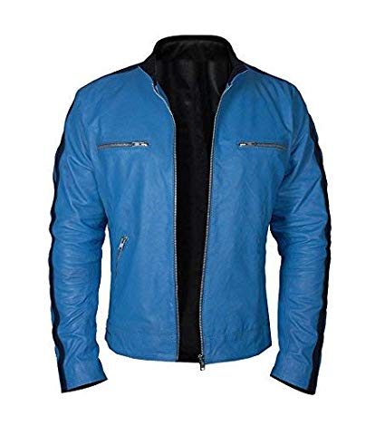 Dirk Gentlys Holistic Detective Samuel Barnett Blue Faux Leather Jacket