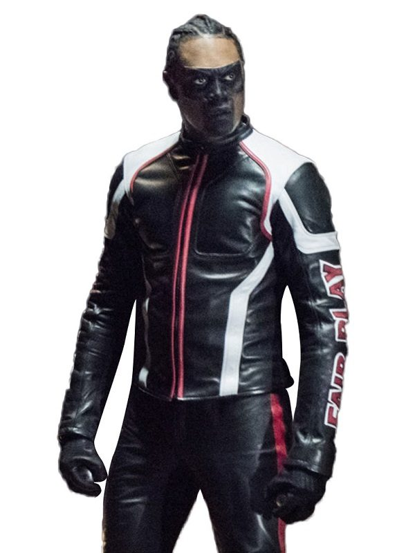 Echo Kellum Arrow Cosplay Leather Jacket front