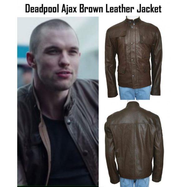 Film Deadpool Ajax Brown Leather Jacket