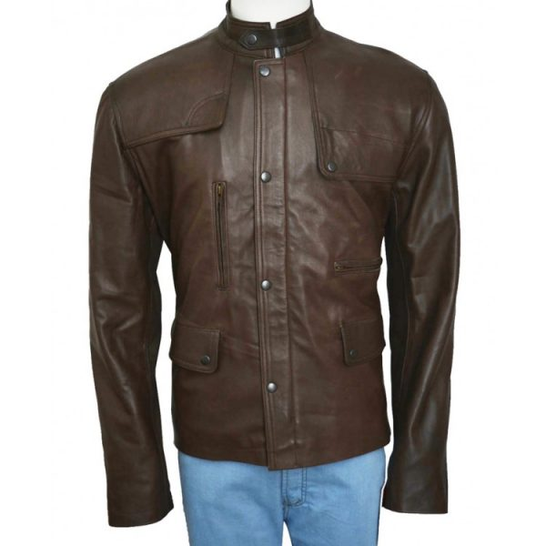 Film Deadpool Ajax Brown Leather Jacket front side