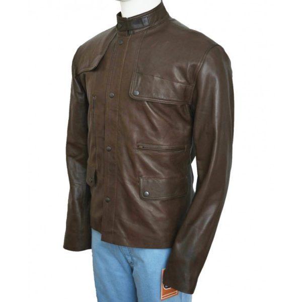 Film Deadpool Ajax Brown Leather Jacket side