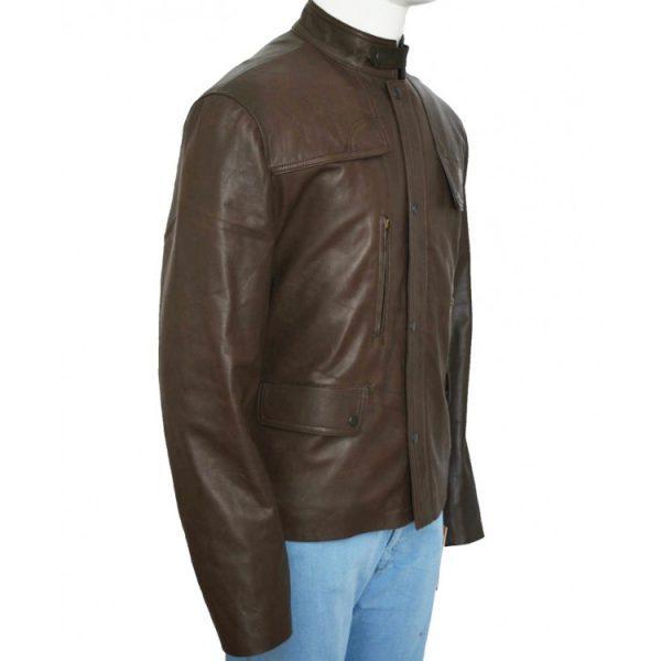 Film Deadpool Ajax Brown Leather Jacket side look