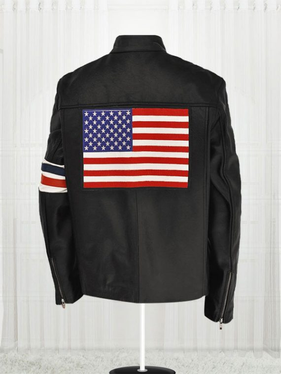 Flag Motorcycle Black Leather Jacket back side