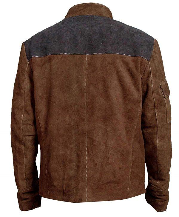 Get Brown Slimfit Wars Suede Leather Jacket back look
