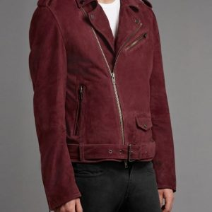 Get Burgundy Double Rider Leather Jacket