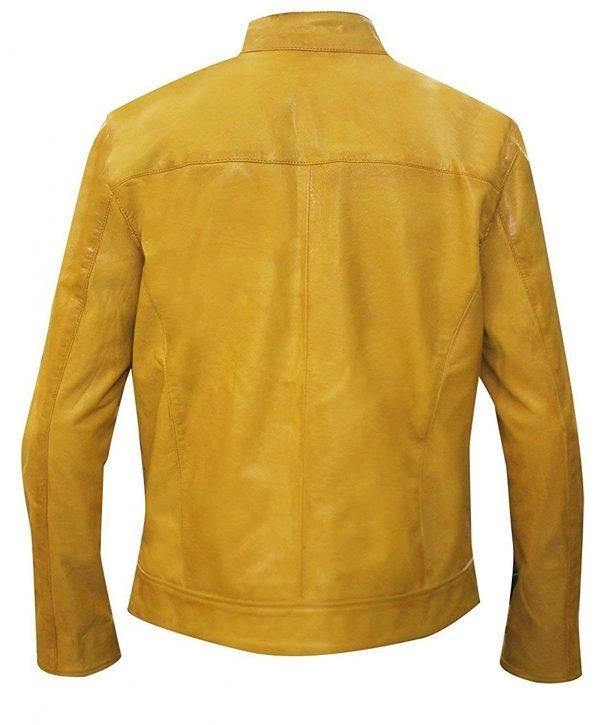 Get Gentlys Detective Barnett Yellow Leather Jacket Back Side