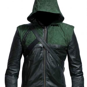 Get Stephen Amell Hooded Leather Jacket