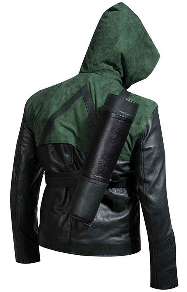 Get Stephen Amell Hooded Leather Jacket back side