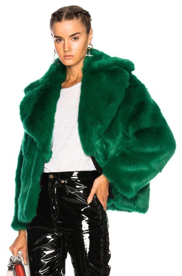 Green Fur Coat Jacket