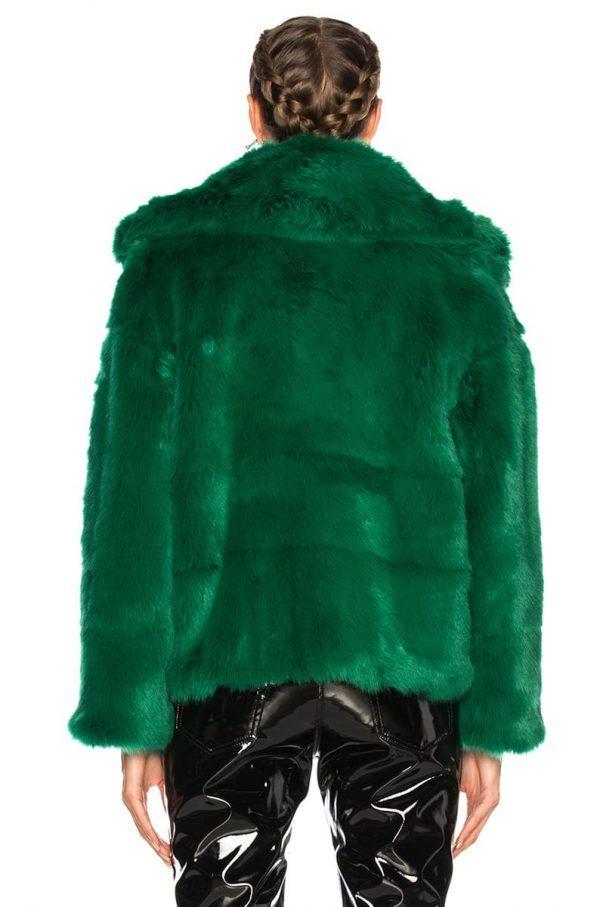 Green Fur Coat Jacket back side
