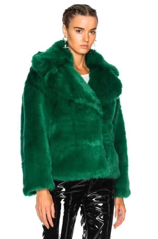 Green Fur Coat Jacket front side