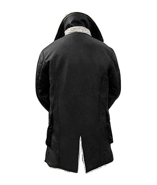 Hardy Dark Knight Black Synthetic Leather Fur Coat Back side