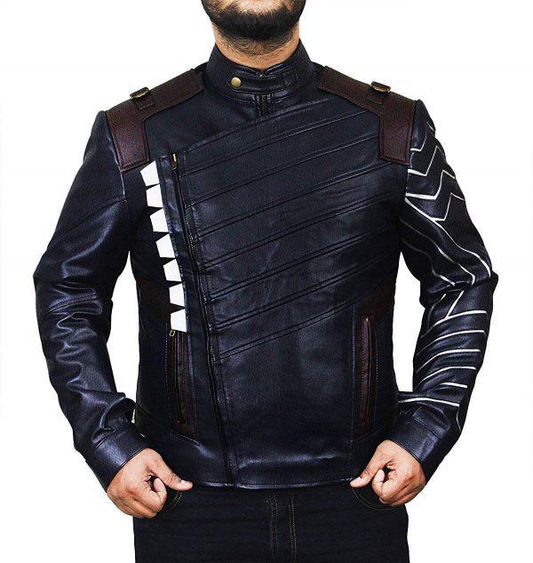 Infinity Winter Soldier Bucky Blue Faux War Leather Jacket