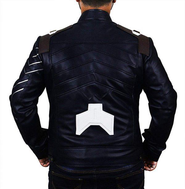 Infinity Winter Soldier Bucky Blue Faux War Leather Jacket Back Look
