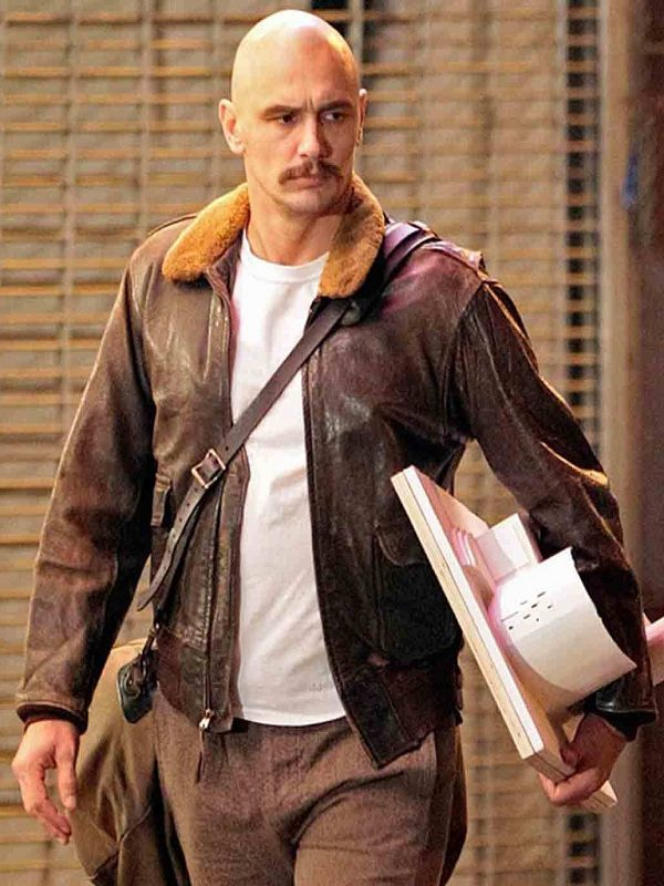 James Franco Zeroville Brown Bomber Leather Jacket front