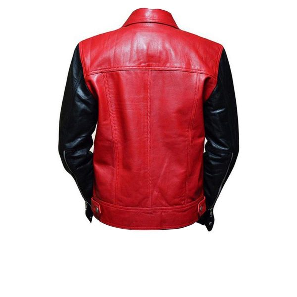 Justin Bieber Black & Red Fashion Real Leather Jacket back side