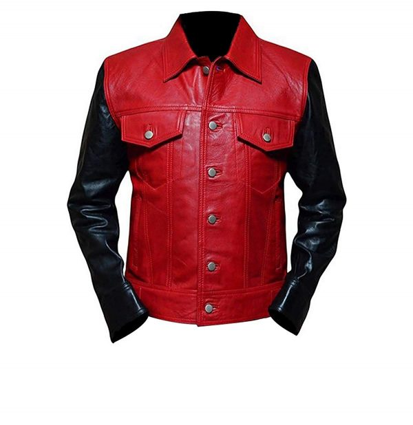 Justin Bieber Black & Red Fashion Real Leather Jacket front side