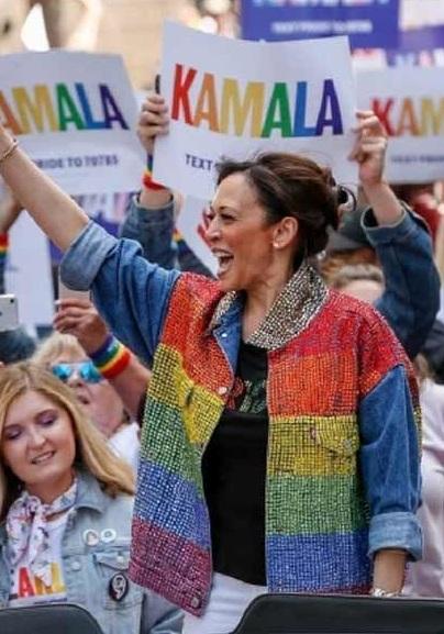Kamala Harris Gay Pride Rainbow Flag Jacket Rockstar Jacket