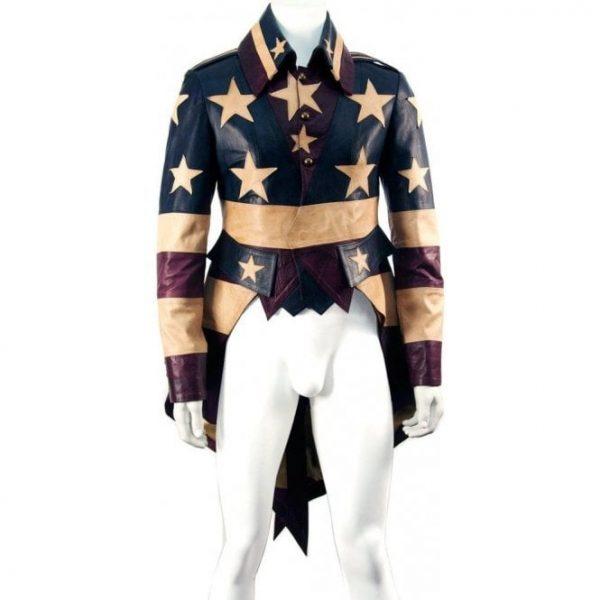 Leather Vintage God Bless America Tail Coat Jacket (2)