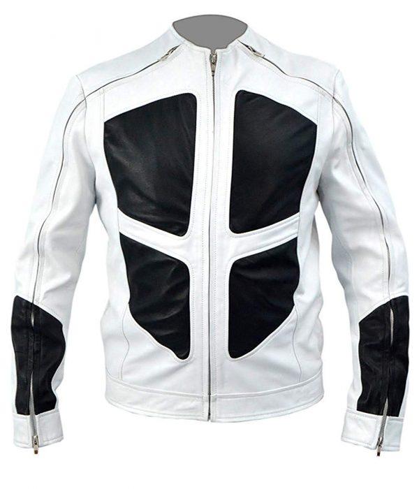 Lewis Shatterstar Deadpool 2 White Leather Jacket