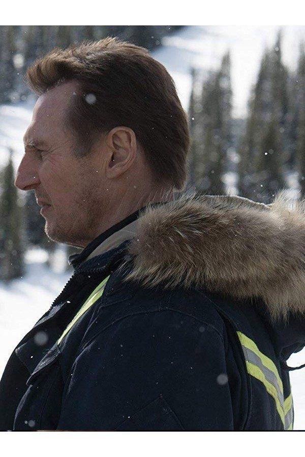 Liam John Neeson Cold Pursuit Parka Coat side
