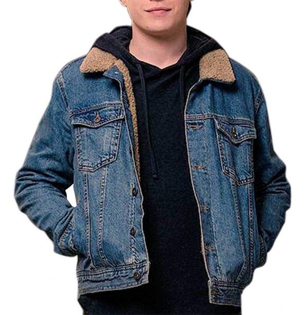 Love Simon Nick Robinson Fur Blue Denim Jacket