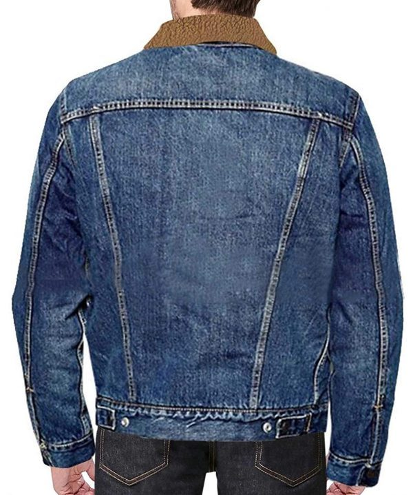 Love Simon Nick Robinson with Fur Hi Quality Blue Denim Jacket Back Look