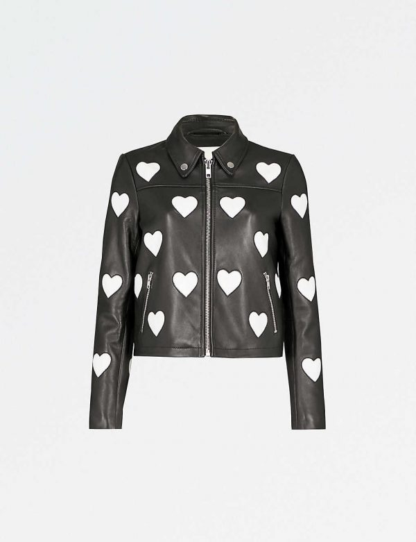 Maje Heart Logo Leather Jacket