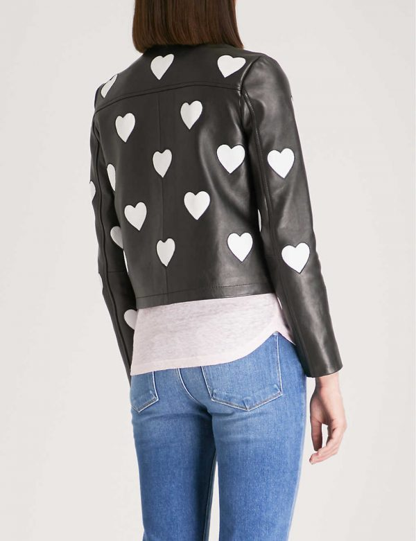 Maje Heart Logo Leather Jacket back side