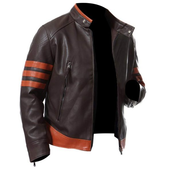Men's Biker Slim Fit Real Leather Retro Jacket side look