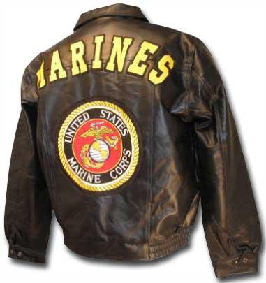 Men's Fashion Black Marines Leather Jacket back side