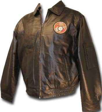 Men's Fashion Black Marines Leather Jacket front