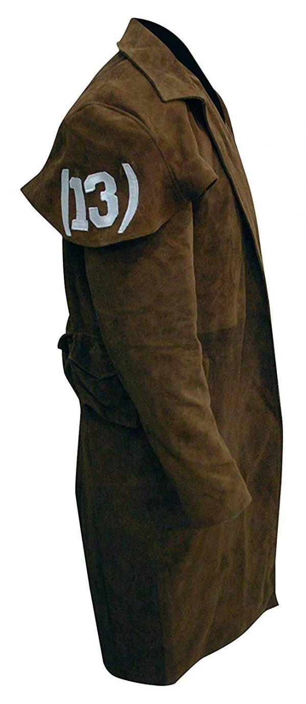 Men's Long Length Suede Leather Trench Coat Right Side