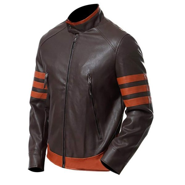 Men's Slim Fit Biker Real Leather Retro Jacket side look