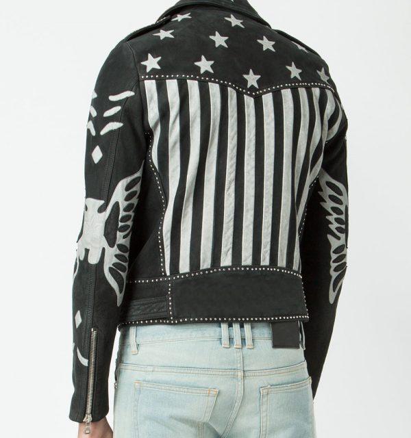Mens American Flag Designer Leather Jacket back side