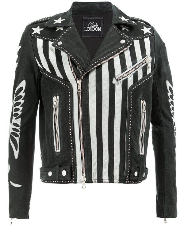 Mens American Flag Designer Leather Jacket front side