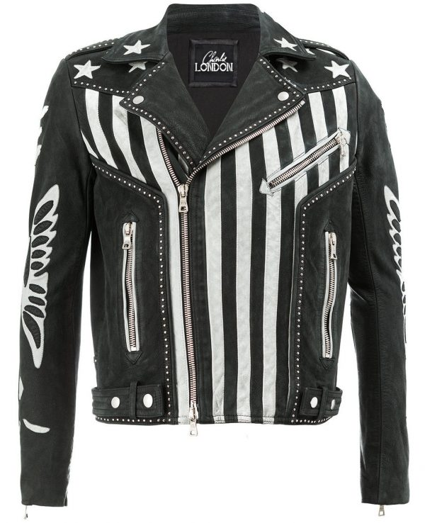 Mens American Flag Designer Leather Jacket front side