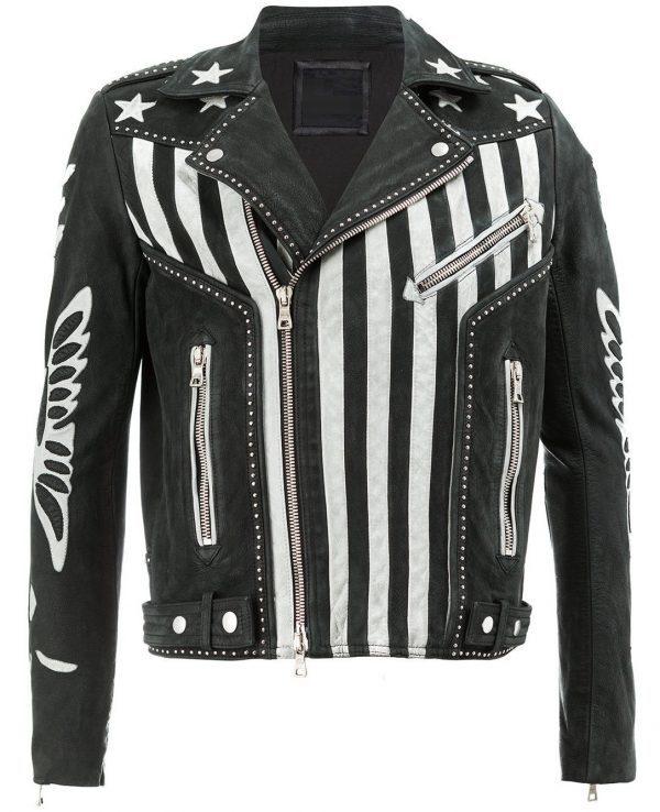 Mens American Flag Designer Leather Jacket new
