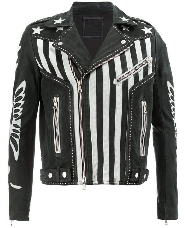Mens American Flag Designer Leather Jacket new