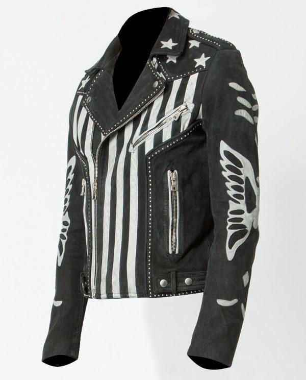 Mens American Flag Designer Leather Jacket side look