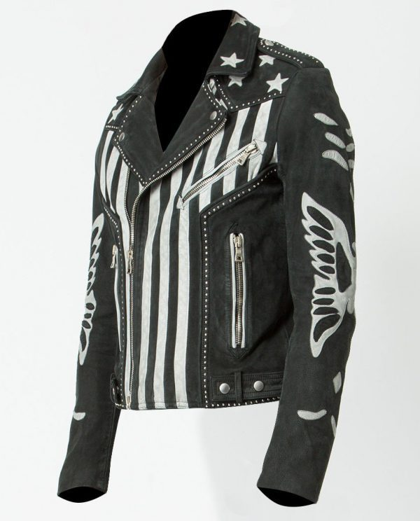 Mens American Flag Designer Leather Jacket side look