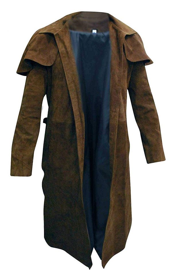 Mens-Brown-Long-Length-Suede-Leather-Trench-Coat-1