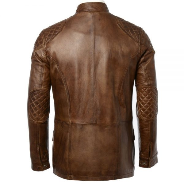 Mens Fashion Timber Leather Jacket back side