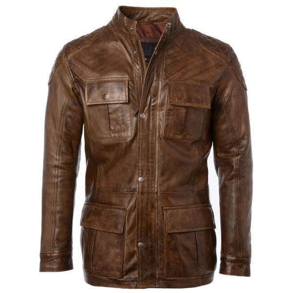 Mens Fashion Timber Leather Jacket side