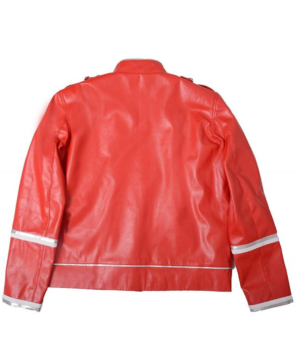 Mens Hemskin Belted Military Style Red Leather Jacket back side