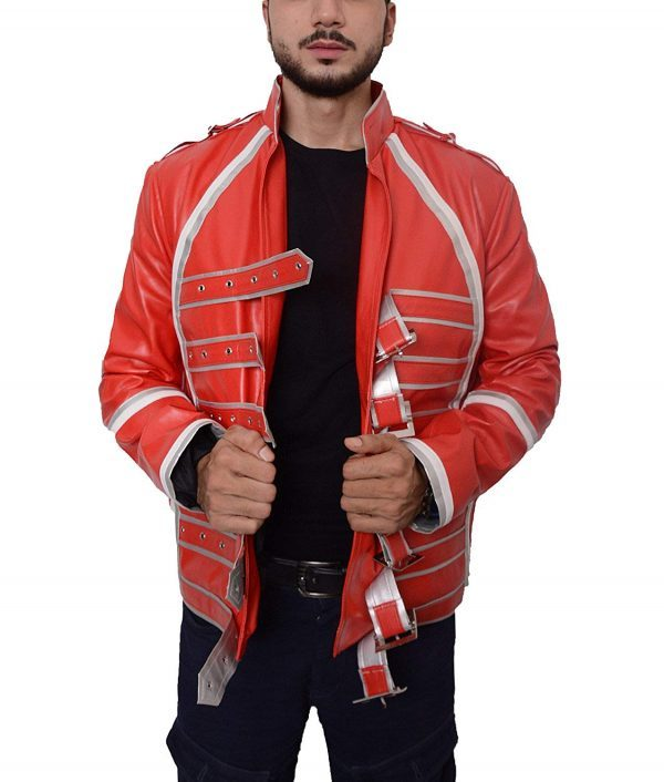 Mens Hemskin Belted Military Style Red Leather Jacket front