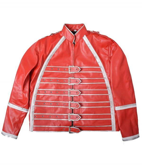 Mens Hemskin Belted Military Style Red Leather Jacket front side
