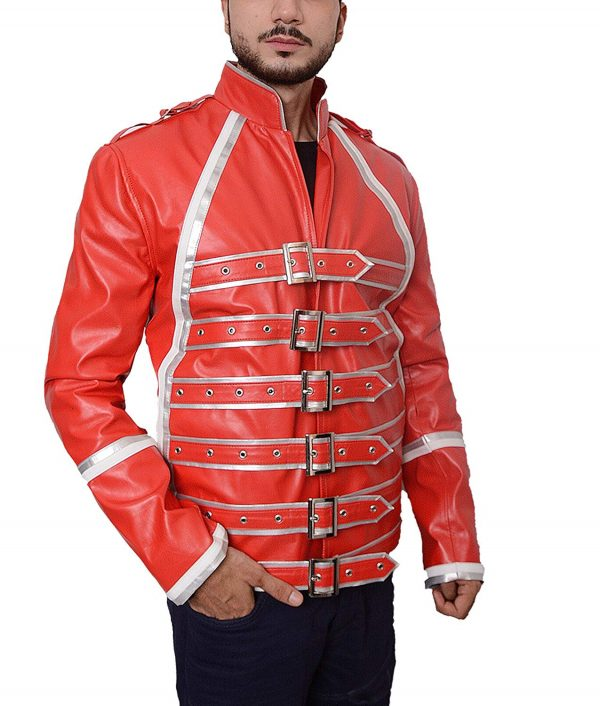 Mens Hemskin Belted Military Style Red Leather Jacket look