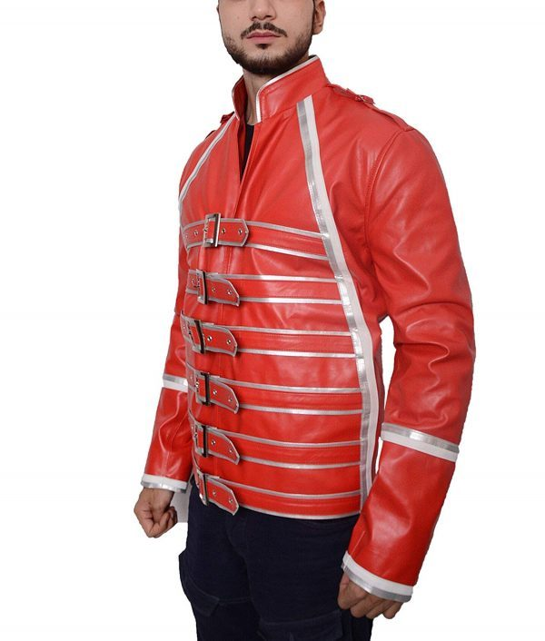 Mens Hemskin Belted Military Style Red Leather Jacket side